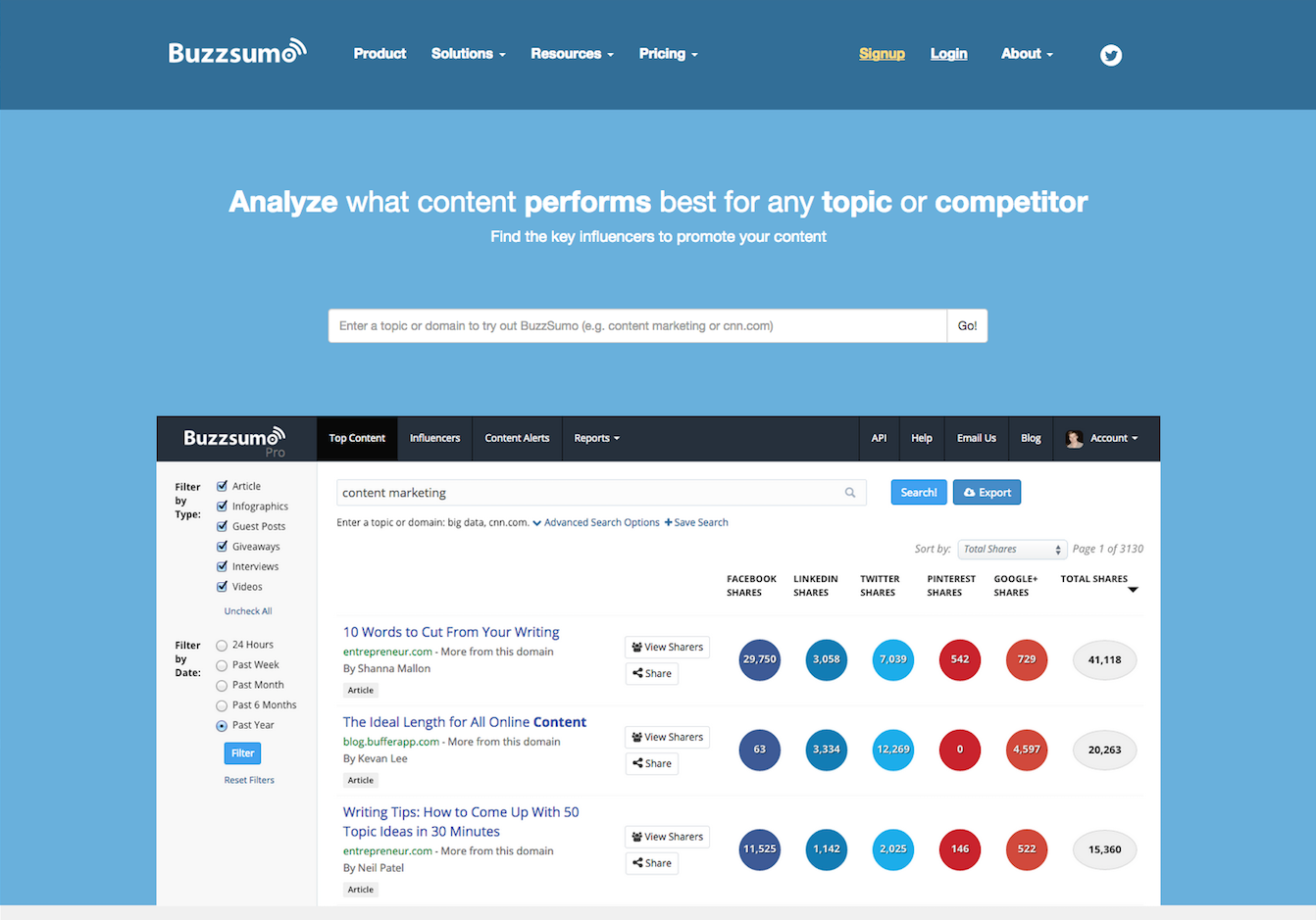 search related articles using buzzsumo