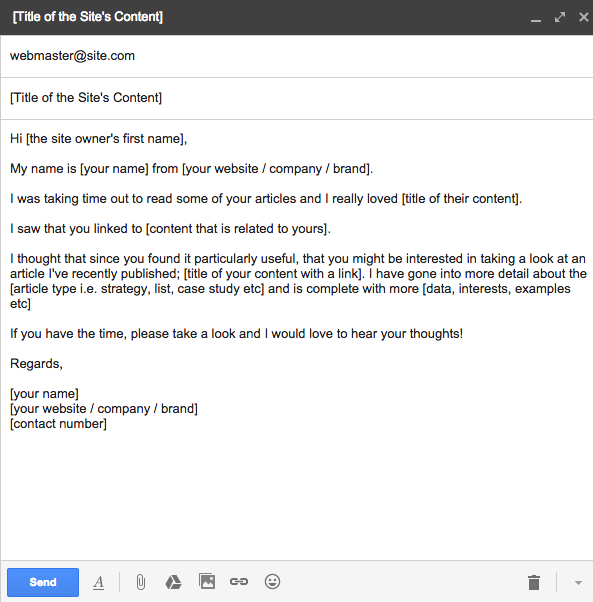 email template for link outreach