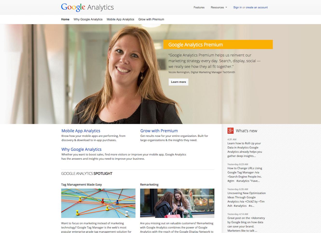 google analytics sigin page