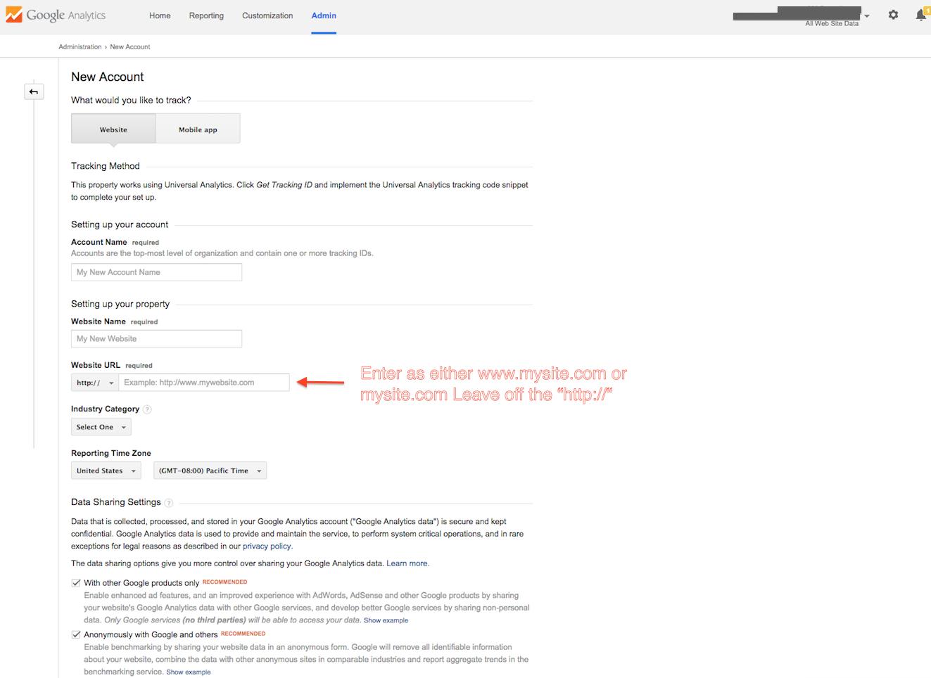 google analytics new account setup screen