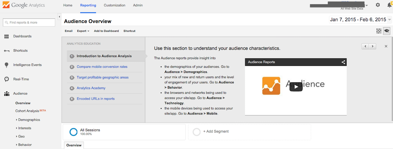 google analytics audience reporting overview